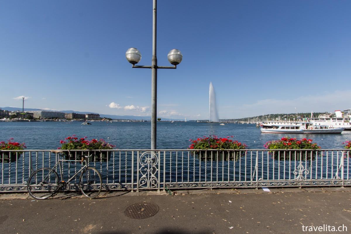 Le Grand Bleu in Genf – fiese Fontäne, schöner See