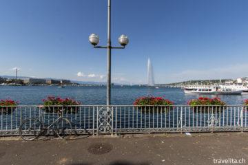 Le Grand Bleu in Genf - fiese Fontäne, schöner See