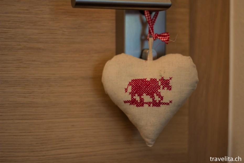 Stoff Herz im Hotel Cervo