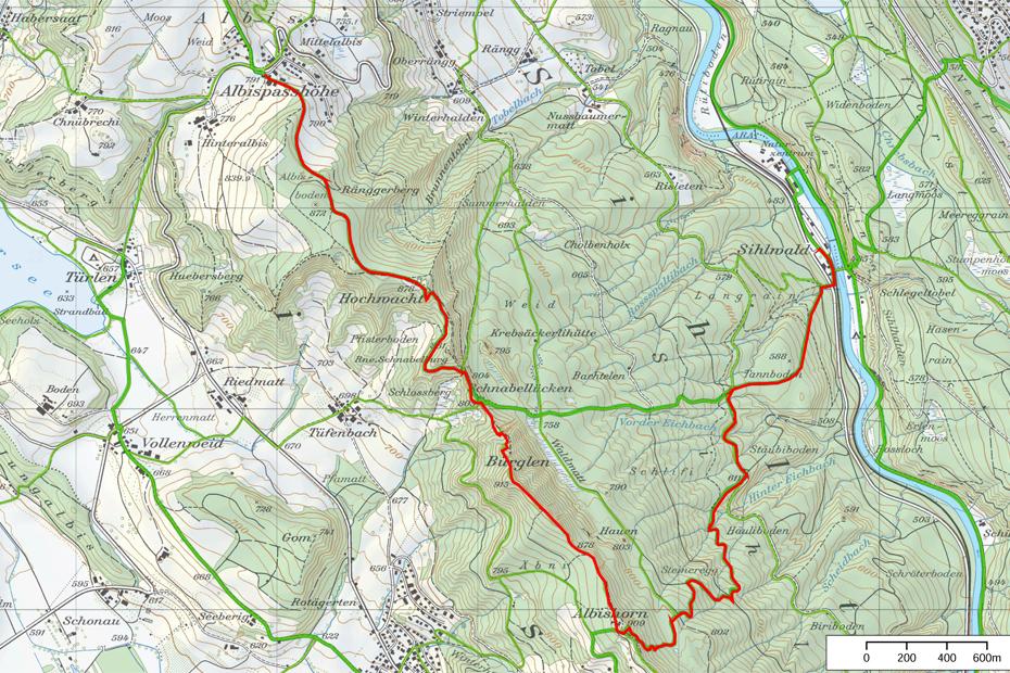 Wanderkarte-Sihlwald-Naturpark