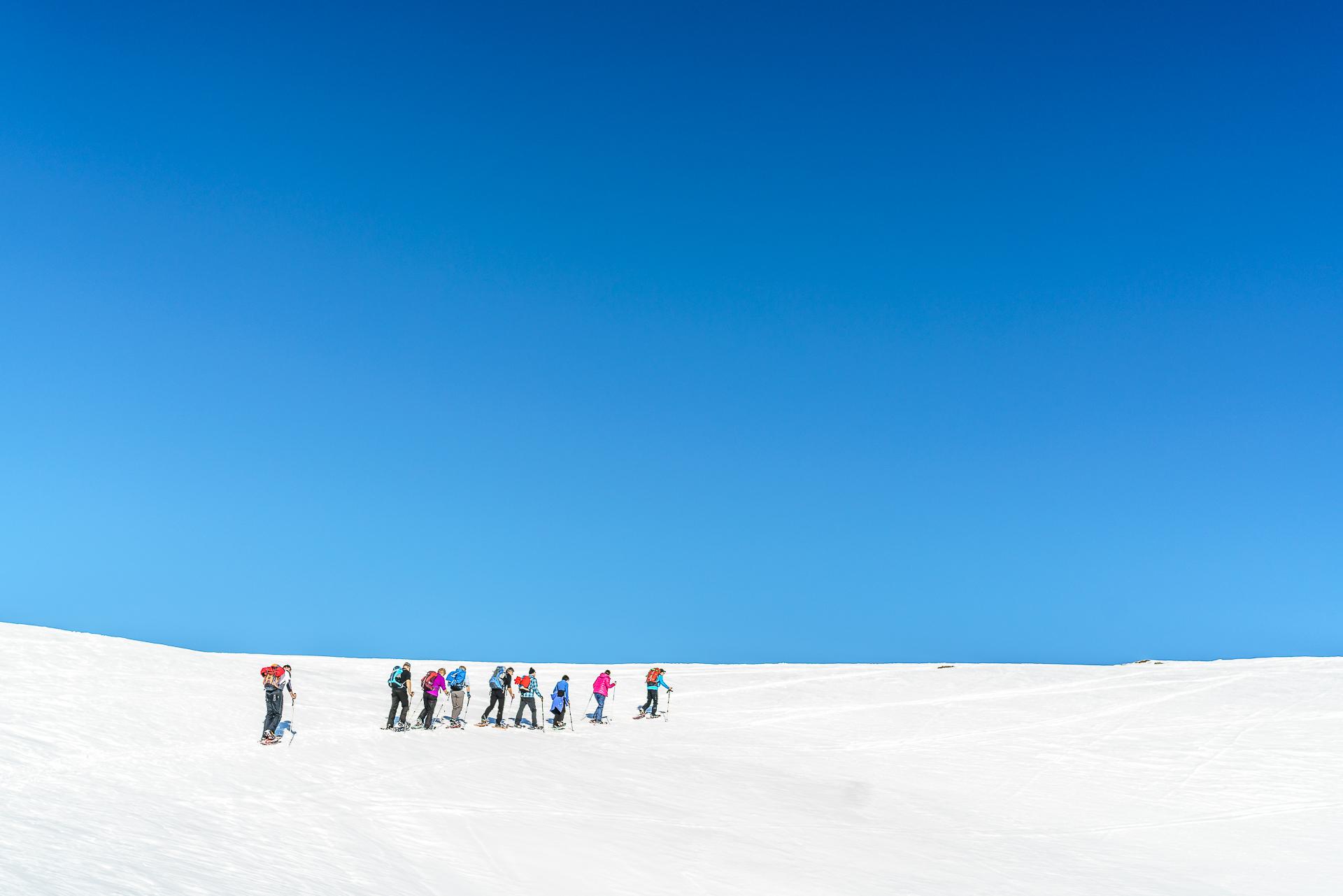 Schneeschuhwanderer-Winter