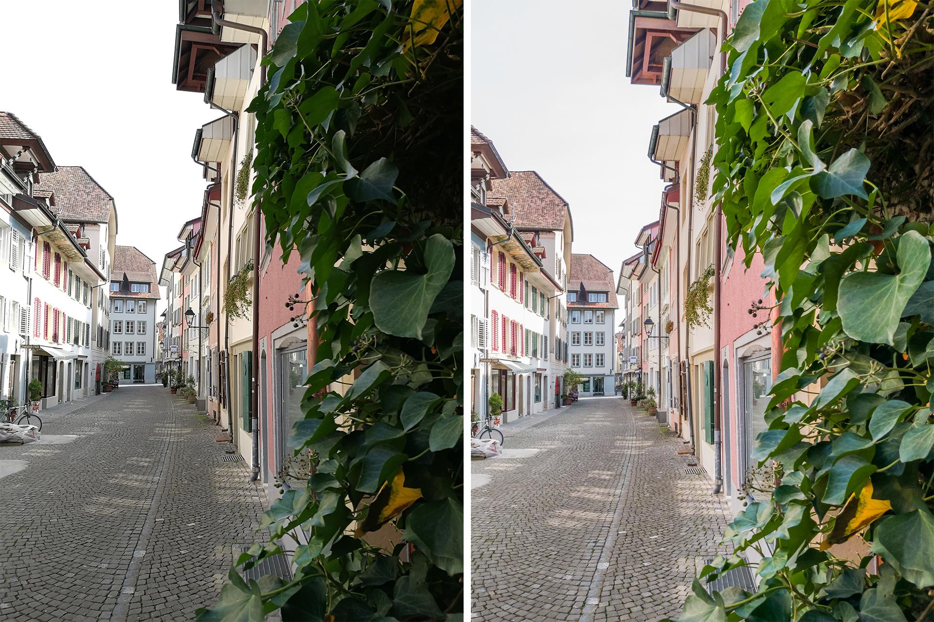 Huawei-p9-Testbild-Aarau-Altstadtgasse-vergleich