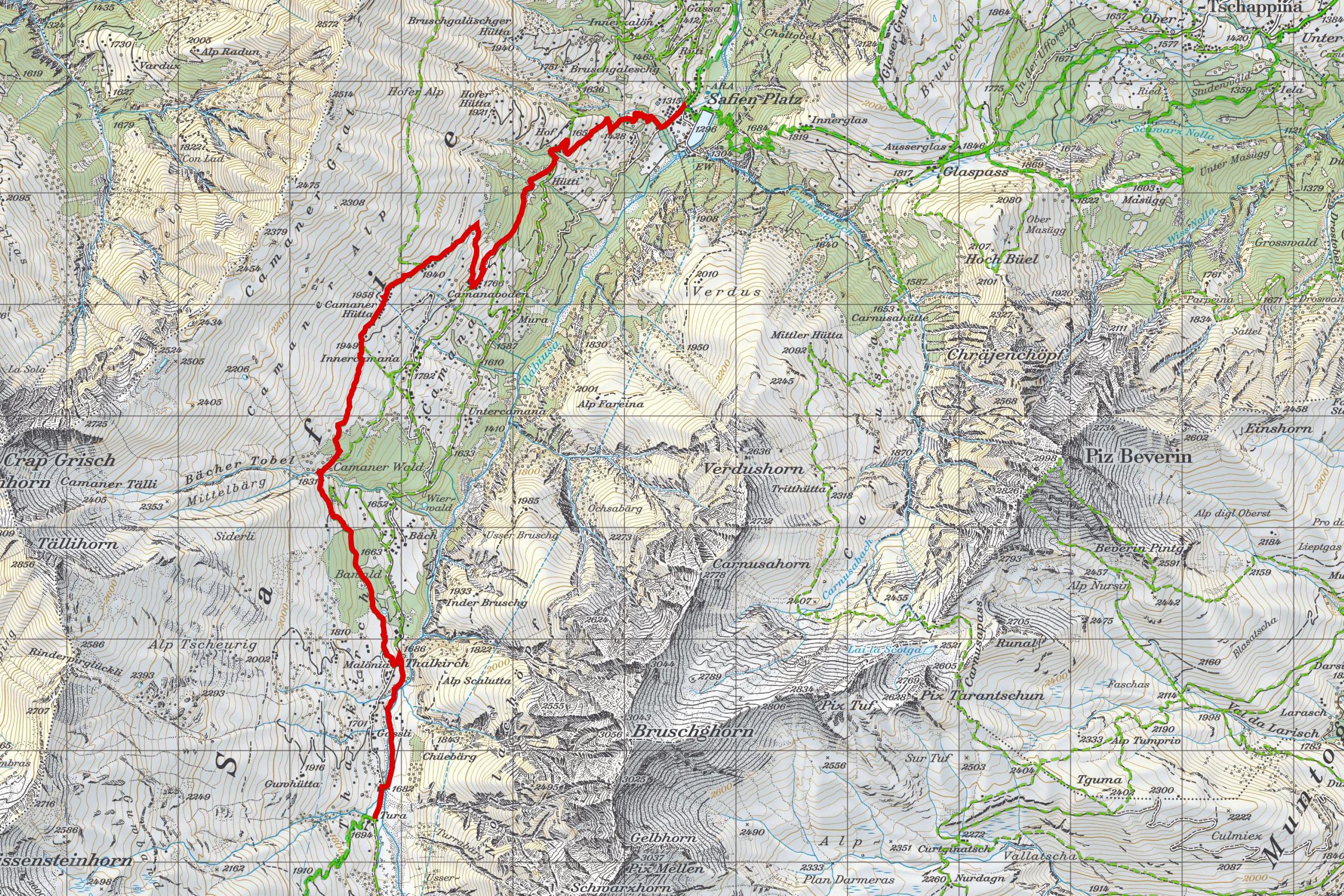 Wanderkarte Walserweg Safiental