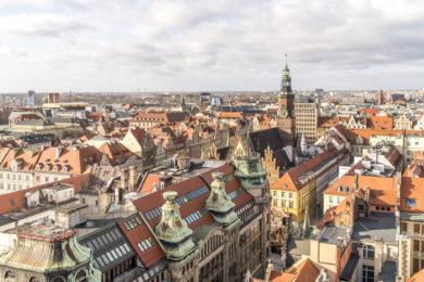 Vogelblick über Wroclaw