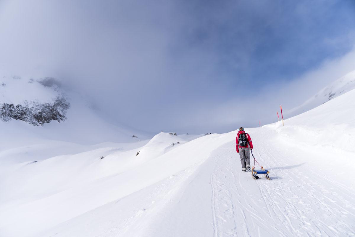 Aufstieg Faulhorn mit Schlitten