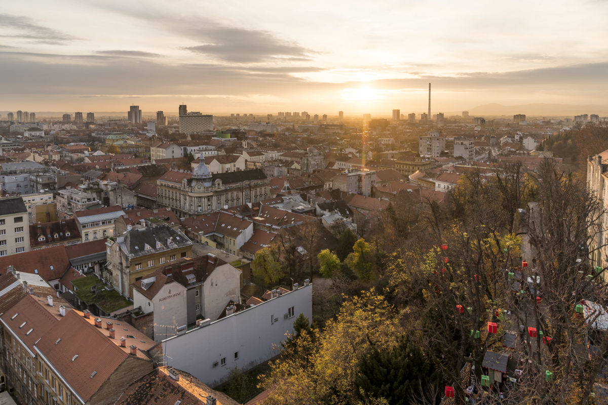 Sonnenuntergang in Zagreb