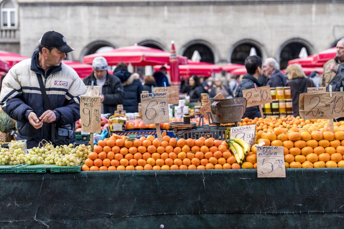 Zagreb Stände am Dolac market