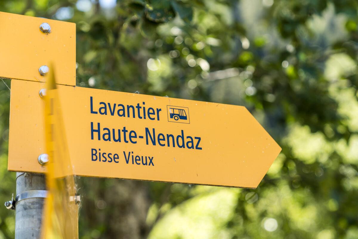 Haute-Nendaz Bisse Vieux Wanderwegzeichen