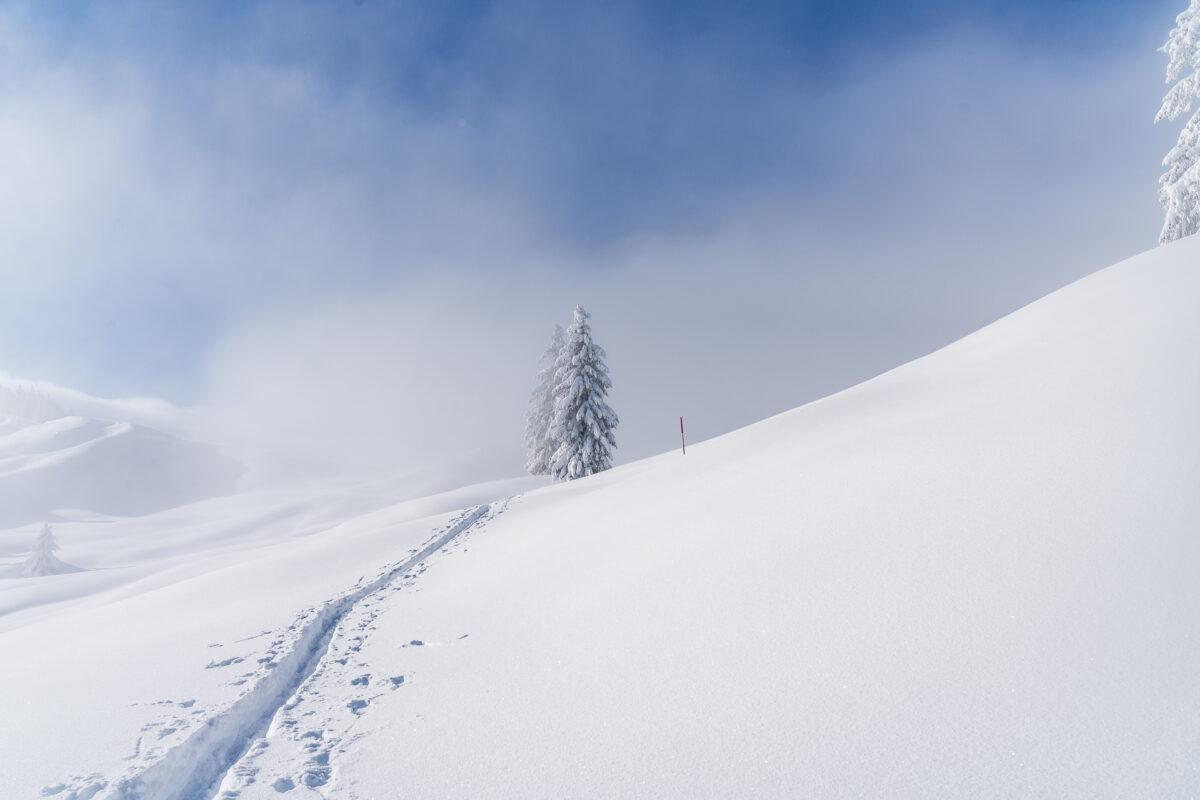 Aufstieg zur Banegg im Winter
