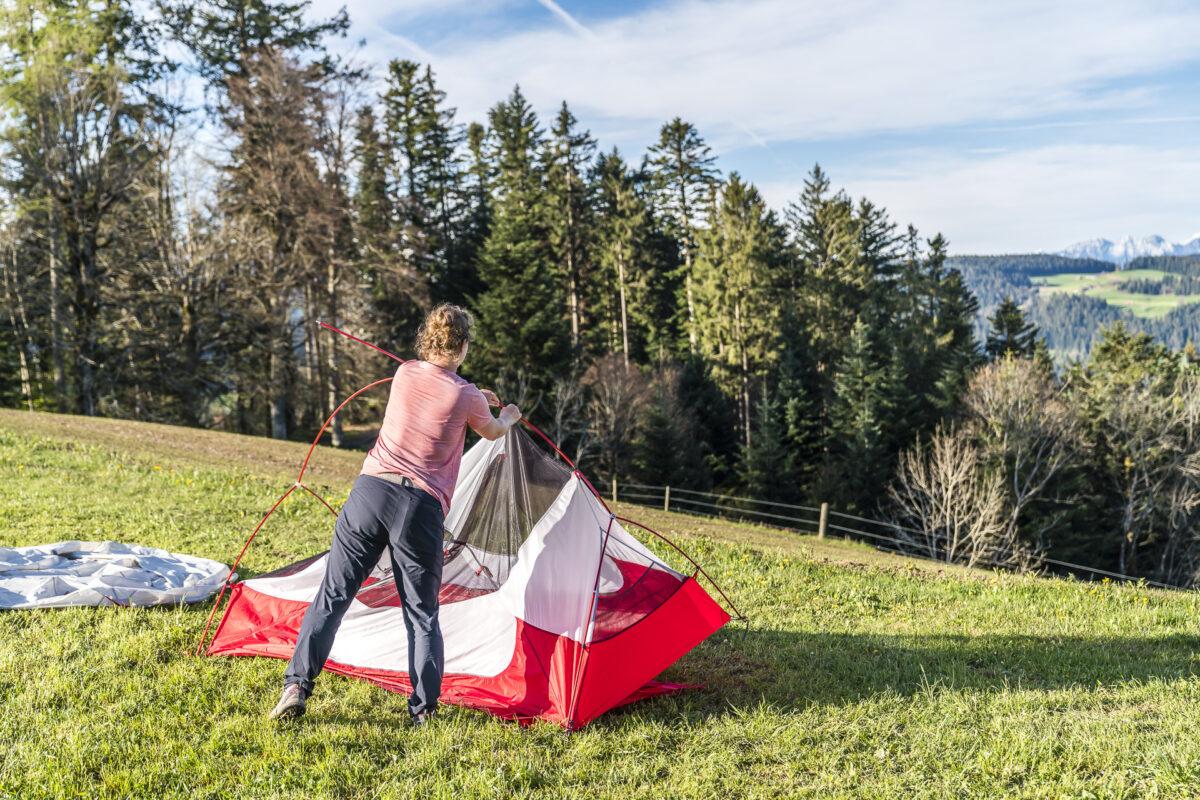 Zelt einpacken