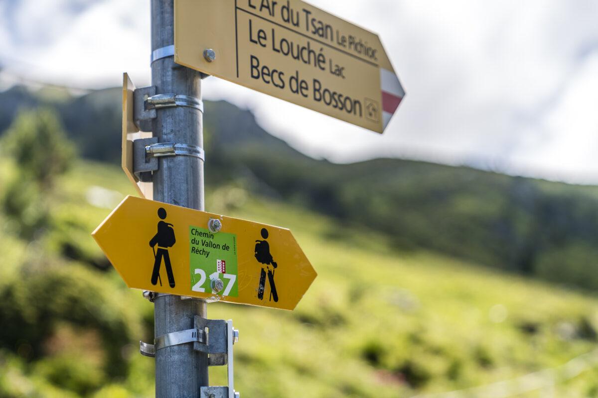 Wegweiser Chemin Vallon de Réchy