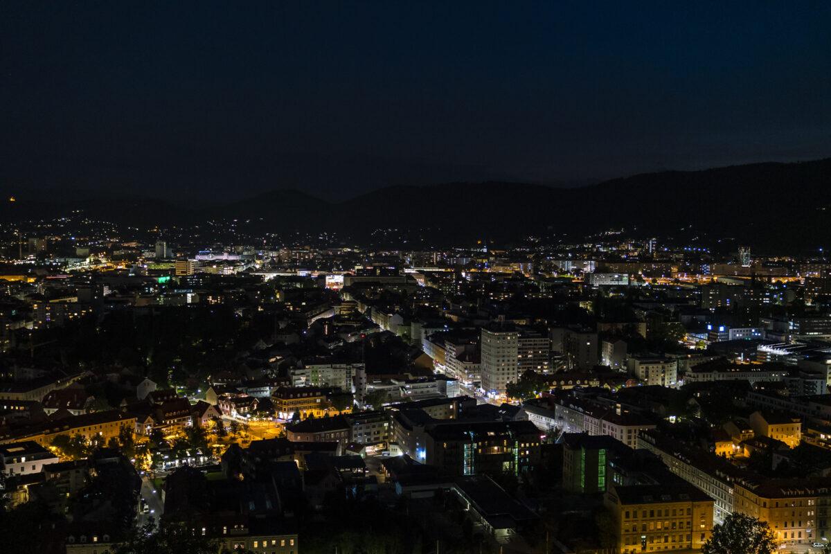 Graz Schlossberg Nachtpanorama